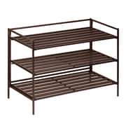 Honey Can Do 3-Tier Stackable Shoe Rack, Dark Brown (SHO-03012)