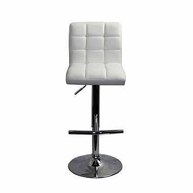RetailPlus 3061 PU Barstool with T-Shape Footstep, White, 2/Pack