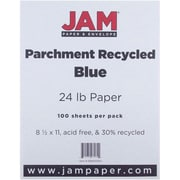 "JAM Paper® 8 1/2"" x 11"" Parchment Recycled Paper, Blue, 500 Sheets/Pack"