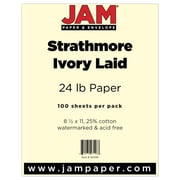 """JAM Paper® 24 lb. 8 1/2"""" x 11"""" Strathmore Laid Paper, Ivory, 100 Sheets/Pack"""