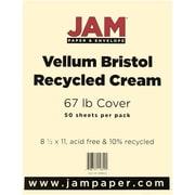 """JAM Paper® 67 lb. 8 1/2"""" x 11"""" Vellum Bristol Cardstock, Cream, 50/Pack"""