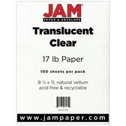 "JAM Paper® 17 lb. 8 1/2"" x 11"" Vellum Translucent Paper, Clear, 100 Sheets/Pack"