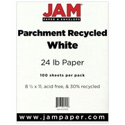 "JAM Paper® 8 1/2"" x 11"" 24 lb.. Parchment Recycled Paper, White, 100 Sheets/Pack"