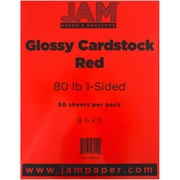 "JAM Paper® 80 lb. 8 1/2"" x 11"" 1-Sided Glossy Cover Cardstock, Red, 50 Sheets/Pack"