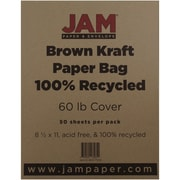 "JAM Paper® 60 lb. 8 1/2"" x 11"" Kraft Paper Bag 100% Recycled Cover Cardstock, Brown, 50 Sheets/Pack"