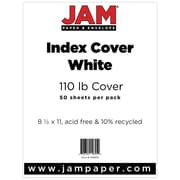 """JAM Paper® 110 lb. 8 1/2"""" x 11"""" Vellum Bristol Index Cardstock, White, 50/Pack"""