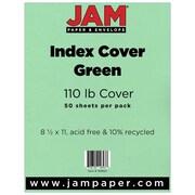 """JAM Paper® 110 lb. 8 1/2"""" x 11"""" Vellum Bristol Index Cardstock, Green, 50/Pack"""