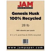 "JAM Paper® 8-1/2"" x 11"" Recycled 28 lb.. Paper, Husk Genesis, 100/Pack"