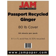 """JAM Paper® 80 lb. 8 1/2"""" x 11"""" Recycled Cardstock, Ginger, 50 Sheets/Pack"""