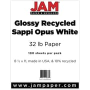 "JAM Paper® 8 1/2"" x 11"" Glossy Paper, White, 100/Pack"