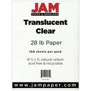 "JAM Paper® 28 lb. 8 1/2"" x 11"" Vellum Translucent Paper, Clear, 100 Sheets/Pack"