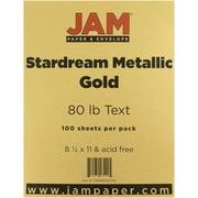 "JAM Paper® 80 lb. 8 1/2"" x 11"" Metallic Stardream Paper, Gold, 100 Sheets/Pack"