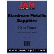 jam paper metallic paper 85 x 11 80lb stardream sapphire blue 100
