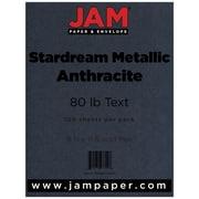 "JAM Paper® 80 lb. 8 1/2"" x 11"" Metallic Stardream Paper, Anthracite/Dark Gray, 100 Sheets/Pack"