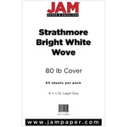 JAM Paper® 80lb Strathmore Legal Cardstock, 8 1/2 x 14, Bright White Wove, 50/Pack (17428894)
