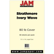 JAM Paper® 80lb Strathmore Legal Cardstock, 8 1/2 x 14, Ivory Wove, 50/Pack (17428906)