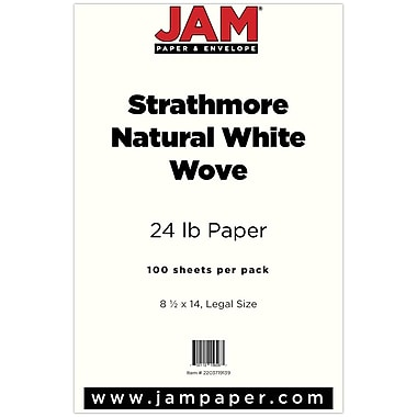 JAM Paper® Strathmore Legal Paper, 8.5 x 14, Natural White Wove, 100/pack (2203719139)