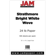 "JAM Paper® 24 lb. 8 1/2"" x 14"" Strathmore Legal Paper, Bright White, 100 Sheets/Pack"
