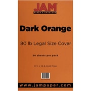 JAM Paper® 80lb Legal Cardstock, 8 1/2 x 14, Dark Orange, 50/Pack (64429485)