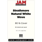 JAM Paper® Strathmore Legal Cardstock, 8.5 x 14, 80lb Natural White Wove, 50/pack (17428899)