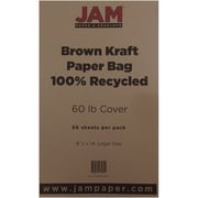 "JAM Paper® 60 lb. 8 1/2"" x 14"" Kraft Paper Bag Recycled Legal Cardstock, Brown, 50/Pack"