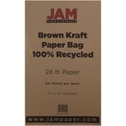 "JAM Paper® 28 lb. 8 1/2"" x 14"" Kraft Paper Bag Recycled Legal Paper, Brown, 50/Pack"