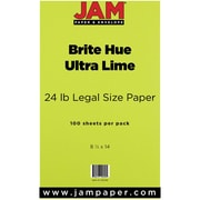 "JAM Paper® 24 lb.. Brite Hue Recycled Legal Paper, 8 1/2"" x 14"", Lime, 100/Pack"