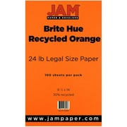 "JAM Paper® 24 lb. 8 1/2"" x 14"" Brite Hue Recycled Legal Paper, Orange, 100/Pack"