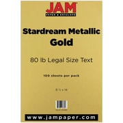 "Jam® Stardream 80 lbs. Metallic Paper, 8 1/2"" x 14"", Gold, 50/Pack"
