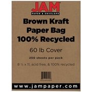 "JAM Paper® 60 lb. 8 1/2"" x 11"" Kraft Paper Bag 100% Recycled Cover Cardstock, Brown, 250 Sheets/Ream"