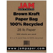 "JAM Paper® 28 lb. 8 1/2"" x 11"" Kraft Paper Bag 100% Recycled Paper, Brown, 500 Sheets/Ream"