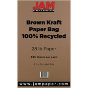 "JAM Paper® 8 1/2"" x 14"" Kraft Paper Bag Recycled Legal Paper, Brown, 500/Ream"