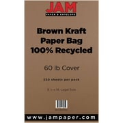 "JAM Paper® 60 lb. 8 1/2"" x 14"" Kraft Paper Bag Recycled Legal Cardstock, Brown, 250/Ream"