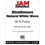 "JAM Paper® 28 lb. 8 1/2"" x 11"" Strathmore Paper, Natural White, 500 Sheets/Ream"