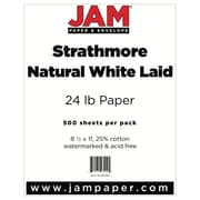 """JAM Paper® 8 1/2"""" x 11"""" Strathmore Laid Paper, Natural White, 500 Sheets/Ream"""