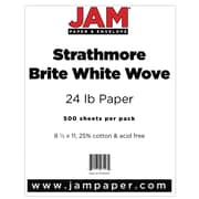 "JAM Paper® 24lb 8 1/2"" x 11"" Strathmore Paper, Bright White, 500 Sheets/Ream"