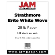 "JAM Paper® 28 lb. 8 1/2"" x 11"" Strathmore Paper, Bright White, 500 Sheets/Ream"