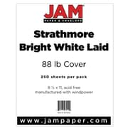 """JAM Paper® 80 lb. 8 1/2"""" x 11"""" Strathmore Laid Cover Cardstock, Bright White, 250 Sheets/Ream"""