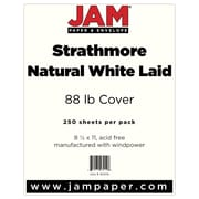 """JAM Paper® 80 lb. 8 1/2"""" x 11"""" Strathmore Laid Cover Cardstock, Natural White, 250 Sheets/Ream"""