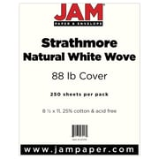 """JAM Paper® 80 lb. 8 1/2"""" x 11"""" Strathmore Cover Cardstock, Natural White, 250 Sheets/Ream"""