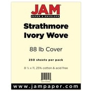 """JAM Paper® 80 lb. 8 1/2"""" x 11"""" Strathmore Cover Cardstock, Ivory, 250 Sheets/Ream"""