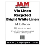 "JAM Paper® 8 1/2"" x 11"" Strathmore Linen Paper, Bright White, 500 Sheets/Ream"