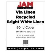 "JAM Paper® 80 lb. 8 1/2"" x 11"" Strathmore Linen Cover Cardstock, Bright White, 250 Sheets/Ream"