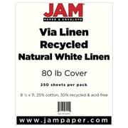 "JAM Paper® 80 lb. 8 1/2"" x 11"" Strathmore Linen Cover Cardstock, Natural White, 250 Sheets/Ream"