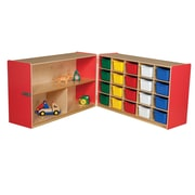 Wood Designs Half and Half Storage Unit with 20 Assorted Trays; Strawberry Red
