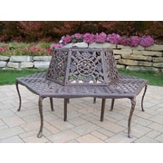 Oakland Living Tea Rose Aluminum Tree Bench