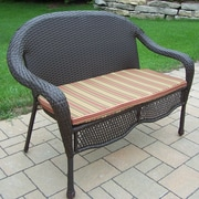 Oakland Living Elite Resin Wicker and Metal Garden Bench; Brown