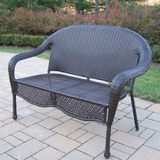 Oakland Living Elite Resin Wicker and Metal Garden Bench; No Cushion