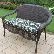 Oakland Living Elite Resin Wicker and Metal Garden Bench; Ebony Floral