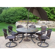 Oakland Living Tuscany Stone Art Dining Set with Umbrella; Brown